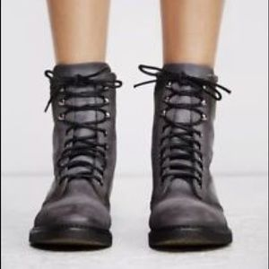 52eef9386d6 Free People Shoes | Fp Black Leather Combat Boot | Poshmark